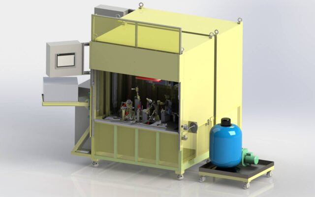 Semi-automatic water immersion leak test station for automotive exhaust system